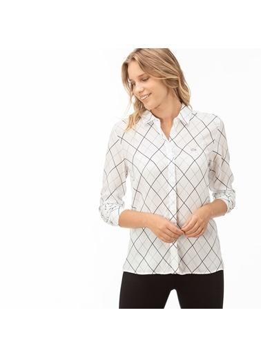 Lacoste Kadın Çizgili Gömlek CF2003.03B Beyaz